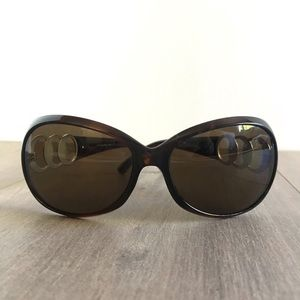 ELLE Tortoise Shell Sunglasses Metal Circle Detail